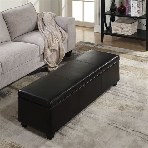 48 inch loveseat black faux leather storage foot rest sofa ottoman bench
