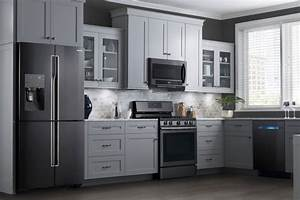 are black stainless steel appliances the next kitchen With kitchen colors with white cabinets with samsung sticker