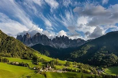Mountains Dolomites Italy Alps Mountain Landscape Church