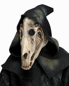 Horse Skull Skeletal Latex Animal Mask With Attached Hood