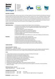 web developer resume exles web designer cv sle exle description career history academic qualifications cvs
