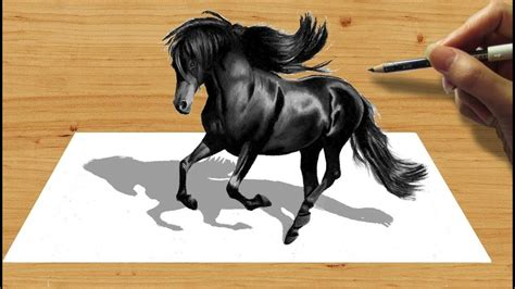 pencil drawing black friesian horse speed draw