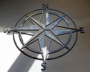 Nautical compass rose wall art metal decor by