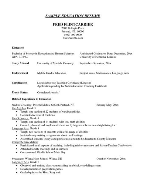 listing education on a resume sles of resumes