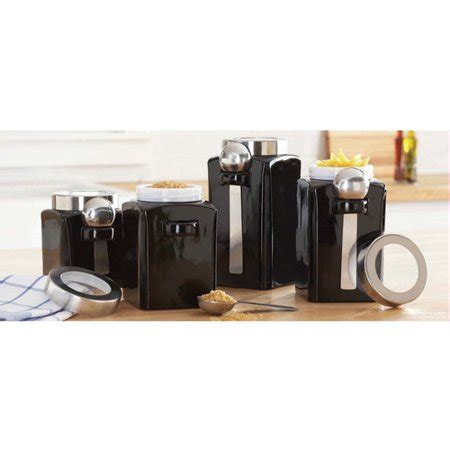 Kitchen Canister Sets Walmart by 4 Canister Set Black Walmart