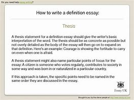 how to write a thesis for a definition essay