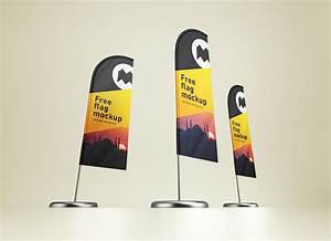 Free, Feather, Flag, Banner, Stand, Mockup, Psd, Set