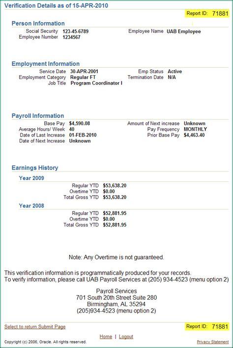 social security employment verification form uab financial affairs self service employment