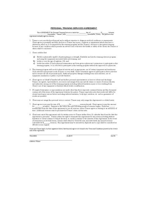 personal training payment agreement ichwobbledichcom