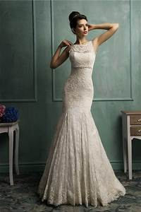 mermaid deep v back sleeveless vintage lace wedding dress With wedding dresses com