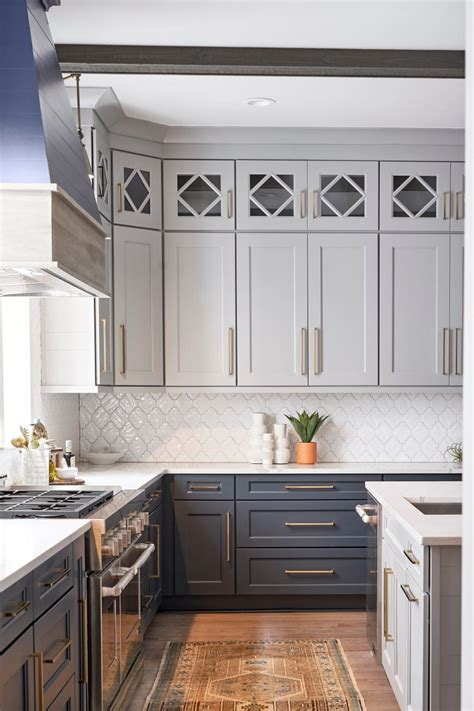 transitional white  gray chef kitchen  rug hgtv