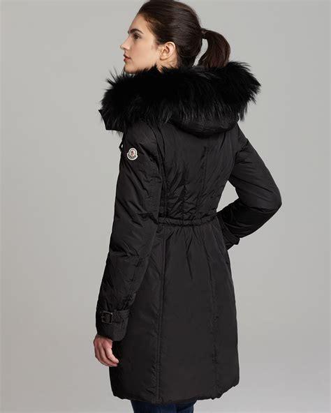 moncler phalangere fur trimmed coat  black lyst