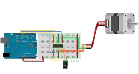 Stepper Motor Interfacing Arduino Tutorial Circuit