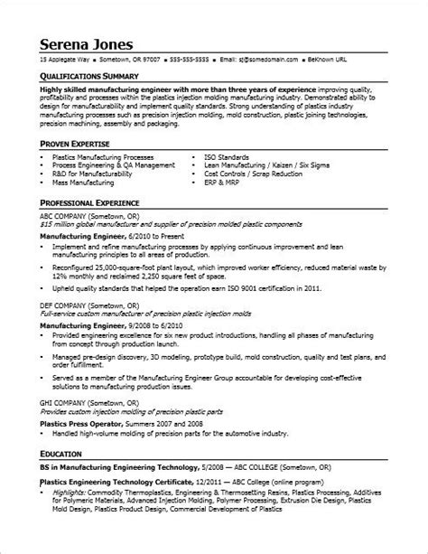 view  sample resume   midlevel manufacturing