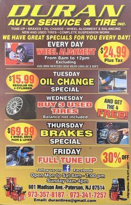 duran auto service tires  madison ave paterson nj