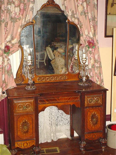 Antique Vanity Chairs by Antique Vanity Ornate Depression Era Furniture Mirror