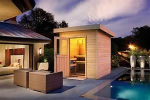 Saunahaus wolff lenja pultdach flachdach gartensauna for Französischer balkon mit sauna garten