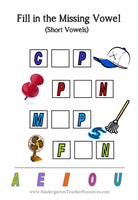 missing vowel worksheets