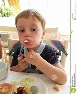 Little Boy At Breakfast Stock Photo - Image: 42739781