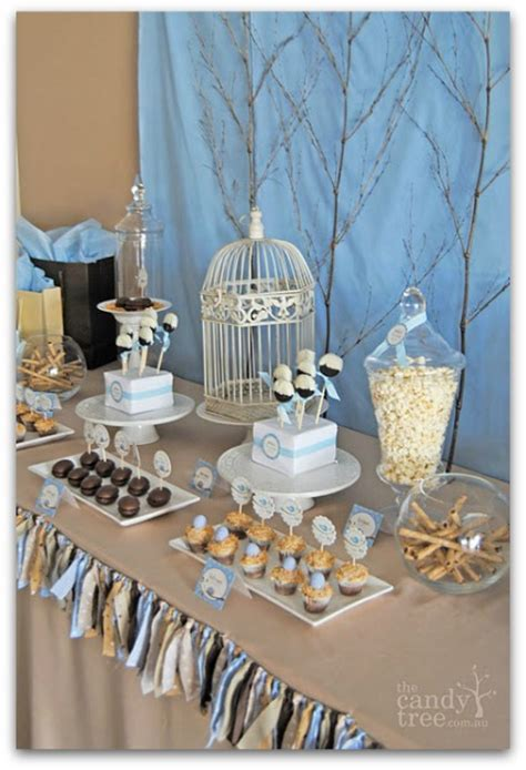 Cute Bird Themed Baby Shower! Adorable Fabric Scrap Table