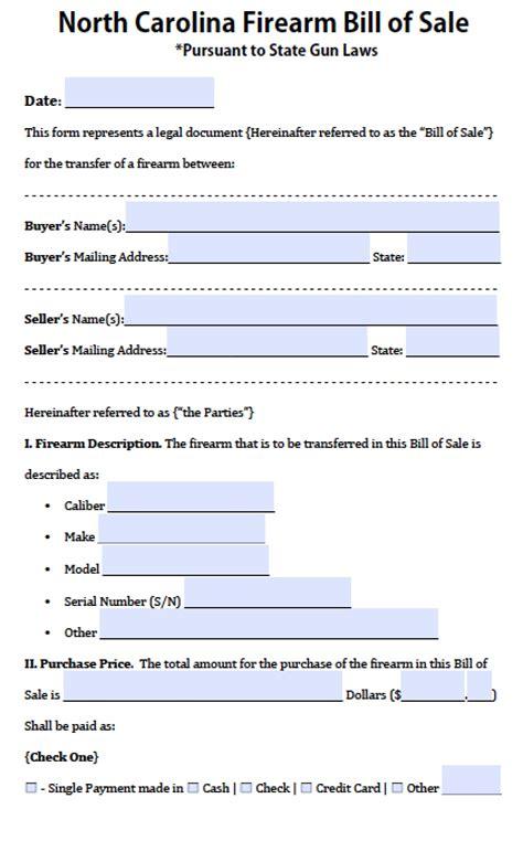 north carolina firearmgun bill  sale form