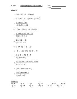 order of operations with integers worksheet 2 pdf by kara gibson