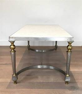 Brushed steel and brass coffee table with marble top for for Brushed brass coffee table