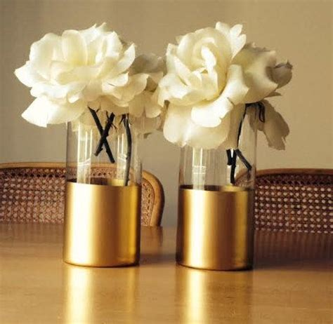 Gold Vases by Gold Dipped Vases Single Large Blooms Wedding