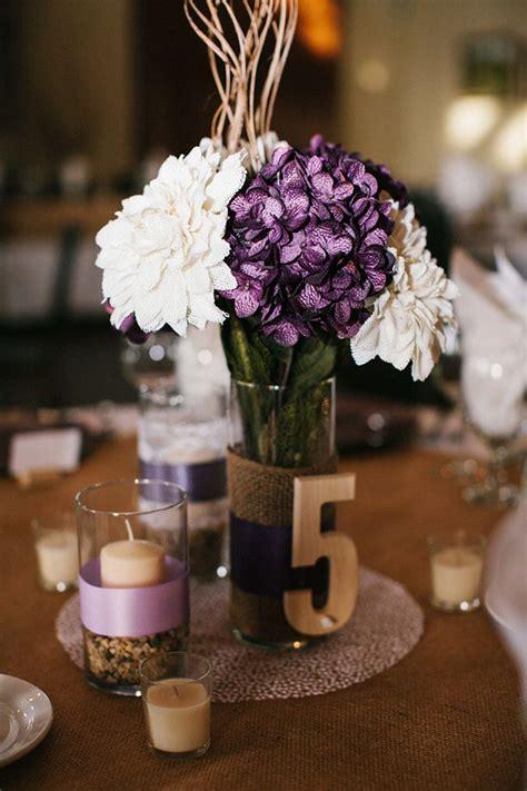 rustic purple vineyard wedding centerpieces rustic