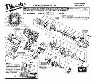 Milwaukee 2663-20 Parts List And Diagram