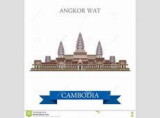 Angkor Wat Temple Complex Cambodiaflat Vector Attraction