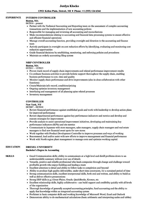 Controller Resume Template Word by Sle Controller Sle Financial Controller Resume