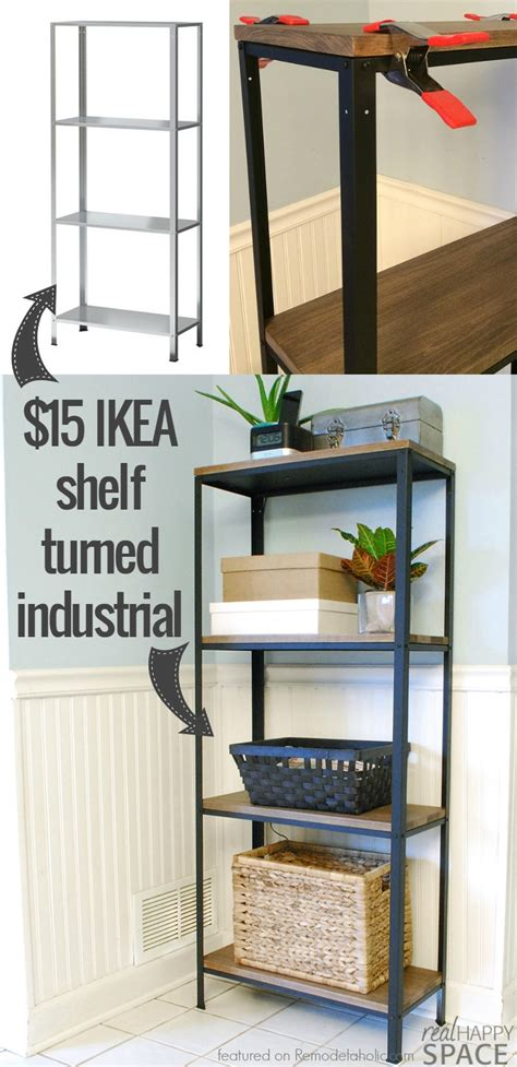 bureau metal ikea remodelaholic wood and metal ikea hack industrial shelf