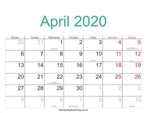 april calendar printable holidays whatisthedatetodaycom
