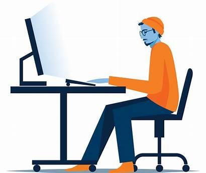 Job Clipart Desk Remote Jobs Computer Working