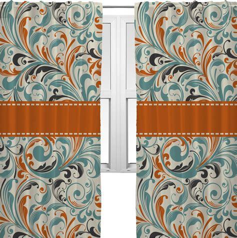 orange and blue curtains orange blue leafy swirls curtains 40 quot x63 quot panels