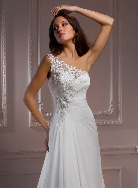 chiffon  shoulder wedding dress dresscab