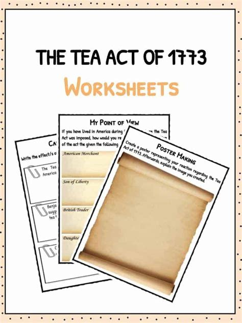 The Tea Act Of 1773  Boston Tea Party Facts & Worksheets For Kids