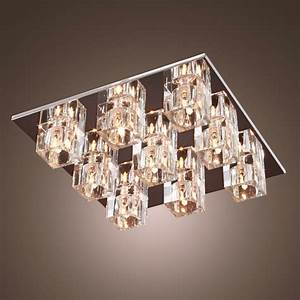 Square, Crystal, Shade, Flush, Mount, Light, Chrome, With, 9, Halogen, Light, Ceiling, Lamp