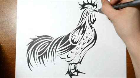 Draw A Real Time Drawing How To Draw A Rooster Tribal Real Time Drawing