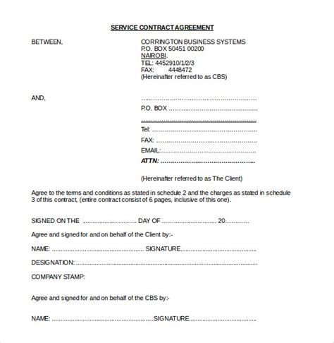 contract agreement templates word  pages