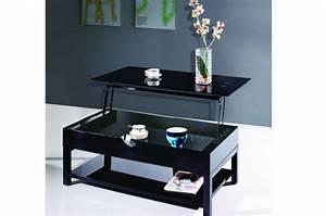 Plateau Deco Design : table basse noire avec plateau relevable table basse pas cher ~ Teatrodelosmanantiales.com Idées de Décoration