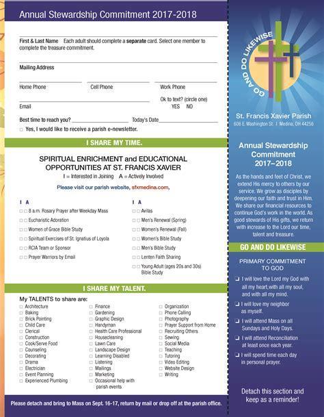 st francis xavier parish commitment card page