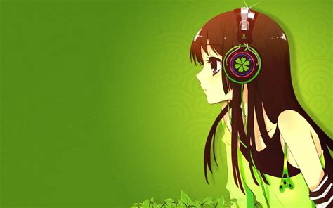 cute anime girl  headphones wallpaper hd cute anime