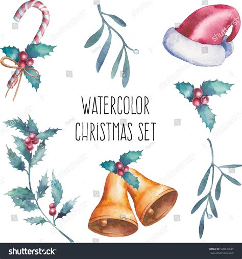 Skull Santa Claus Background Branches Mistletoe Stock Watercolor Set Painted Objects Stock