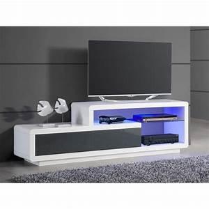 Meuble TV De Rangement Lumineux Coloris Blanc Et Gris