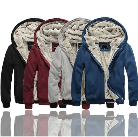 mens sherpa lined faux fur thickened thick winter warm hoodies hooded sweatshirt jacket