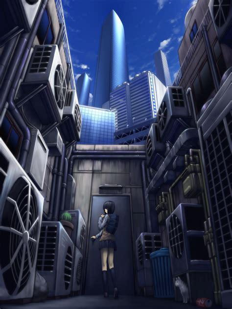 anime artwork anime girls worms eye view alleyway