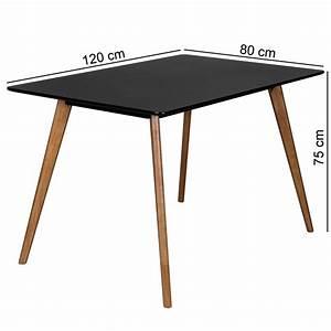 Holzplatte 120 X 80 : finebuy retro esstisch 120 x 80 x 75 cm mdf schwarz matt f e eiche 40374 ~ Bigdaddyawards.com Haus und Dekorationen
