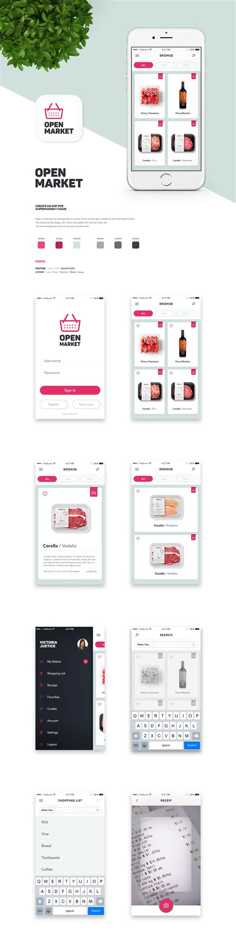 design    brand fun flat app   supermarket